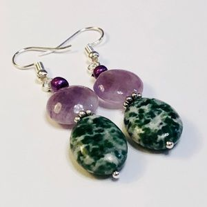 Amethyst Quartz & Tree Jasper Gemstone Earrings